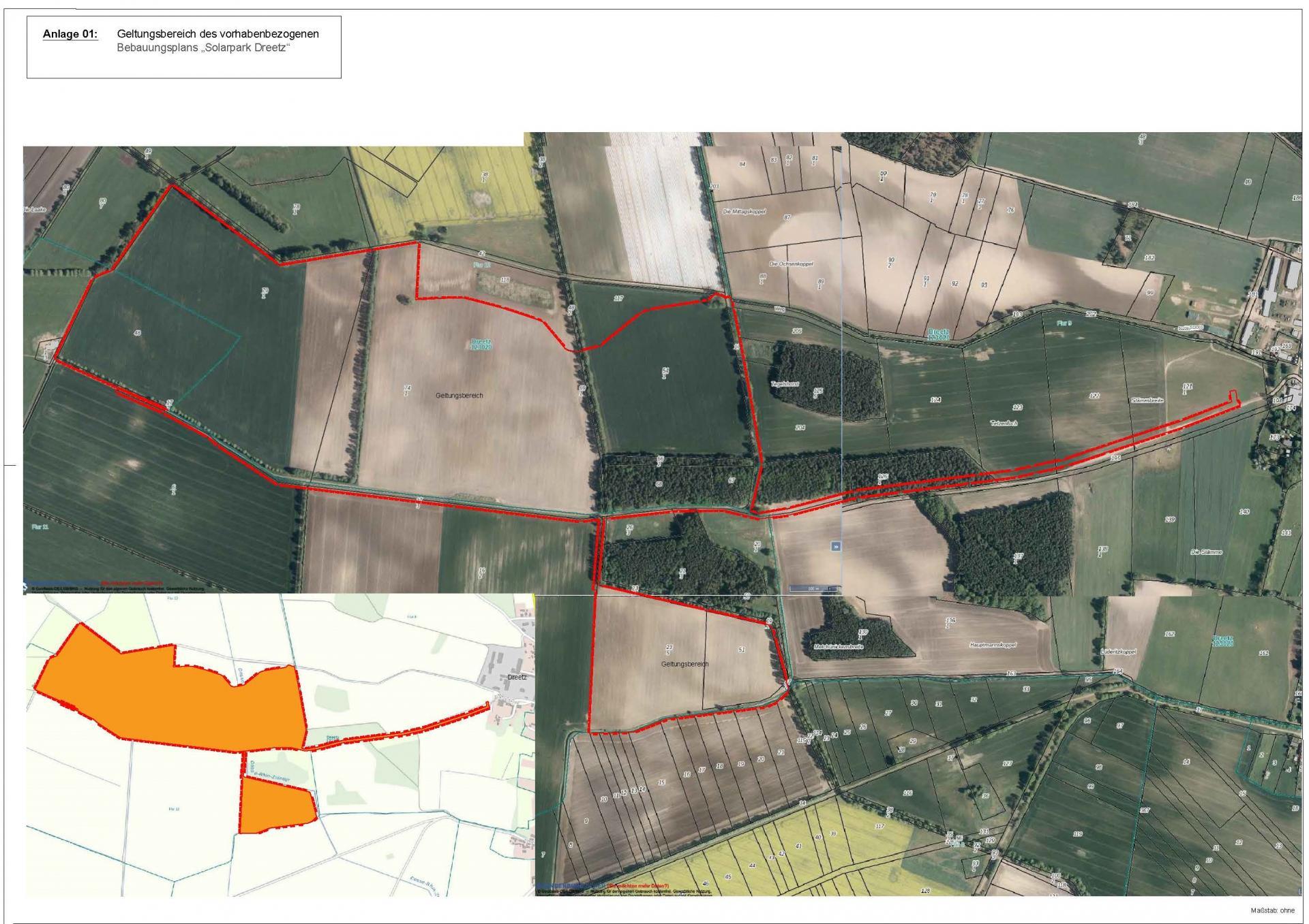 Planzeichnung Solarpark Dreetz