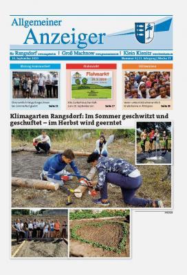 © Gemeinde Rangsdorf - Titelseite des Allgemeinen Anzeiger für Rangsdorf, Groß Machnow und Klein Kienitz vom 14.09.2019