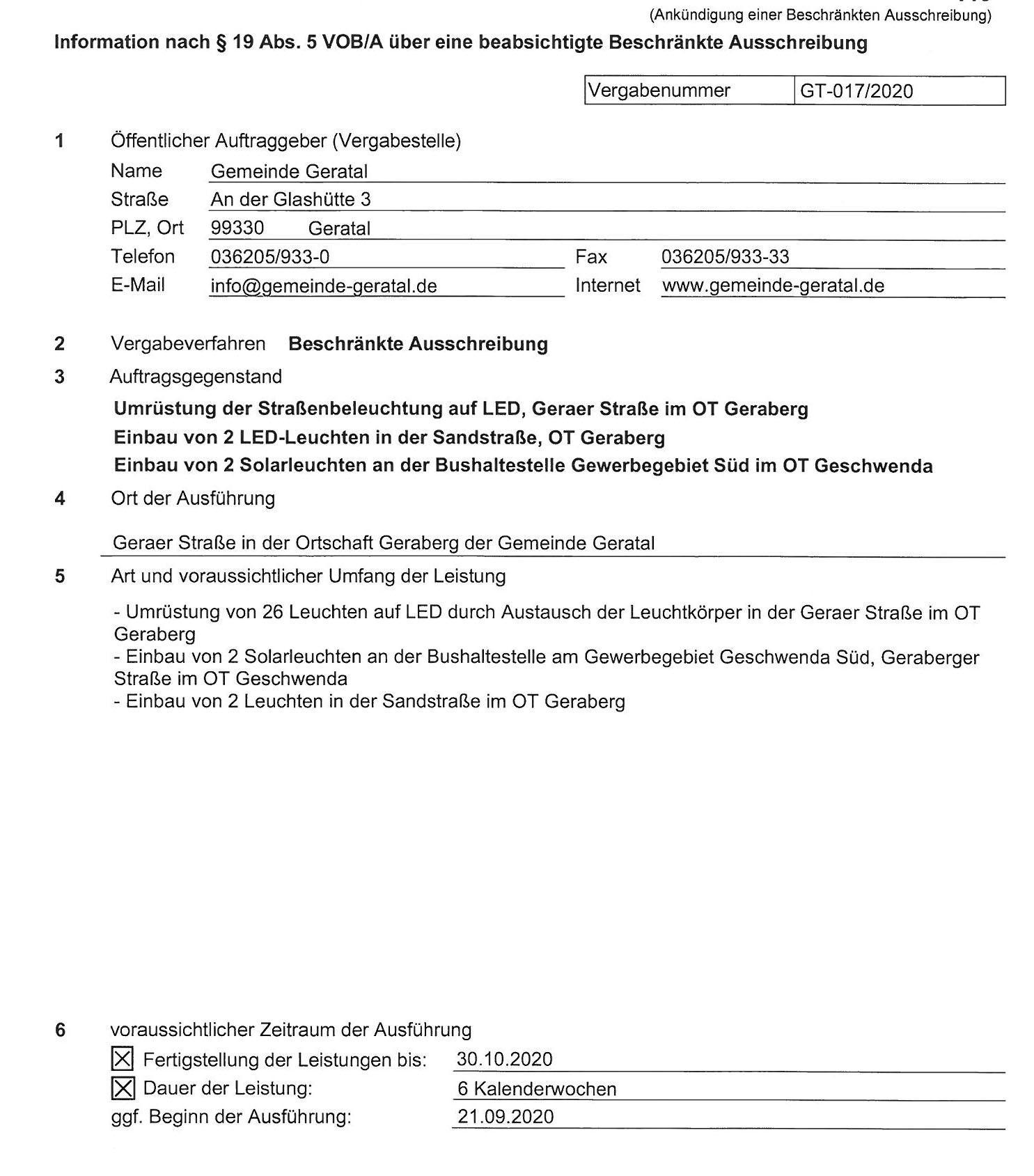 2020-08-28_Information über beabsichtigte Beschränkte Ausschreibung OT Geraberg und OT Geschwenda