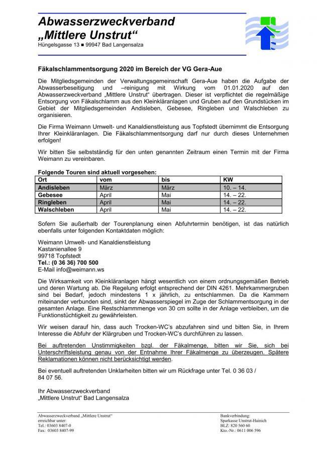Information zur Fäkalschlammentsorgung