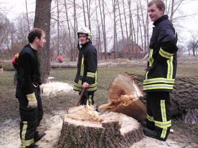 Foto zur Meldung: Kettensägen statt Wasserschlauch  / Die Feuerwehr  als Baumwehr