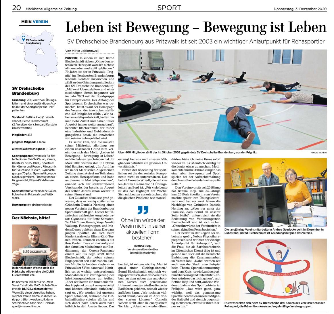 Zeitungsartikel - SV Drehscheibe Brandenburg