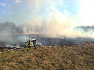 Foto zur Meldung: Falkenseer Feuerwehr im Einsatz zu einem Brand neben der Bahnstrecke und einem Verkehrsunfall in der Finkenkruger Straße