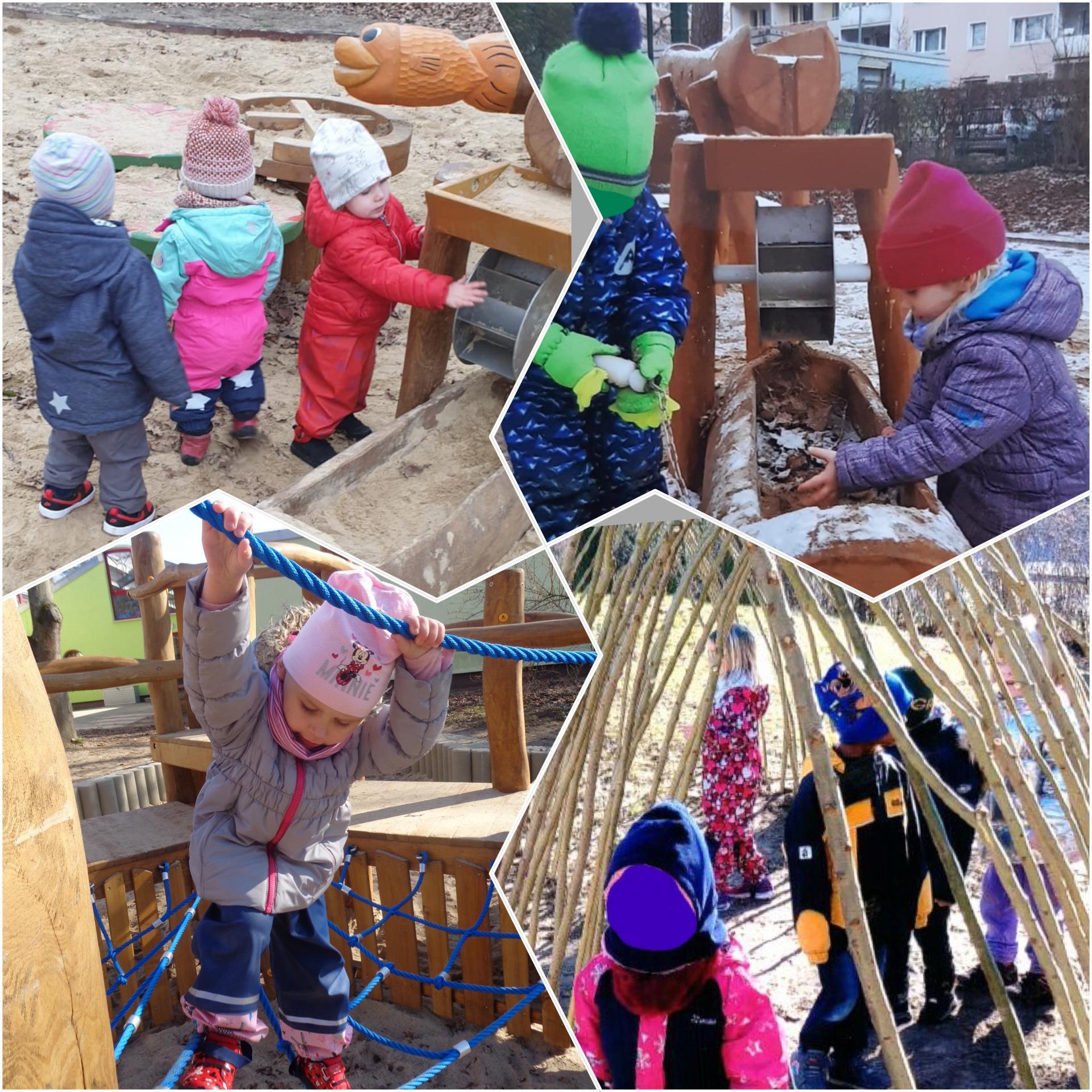 Unsere Kinder erkunden den Spielplatz