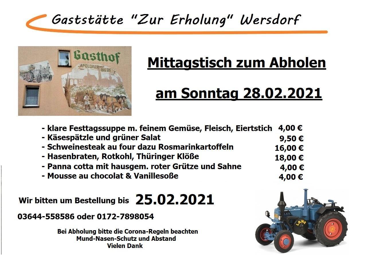 Angebot der Gaststätte Zur Erholung im OT Wersdorf