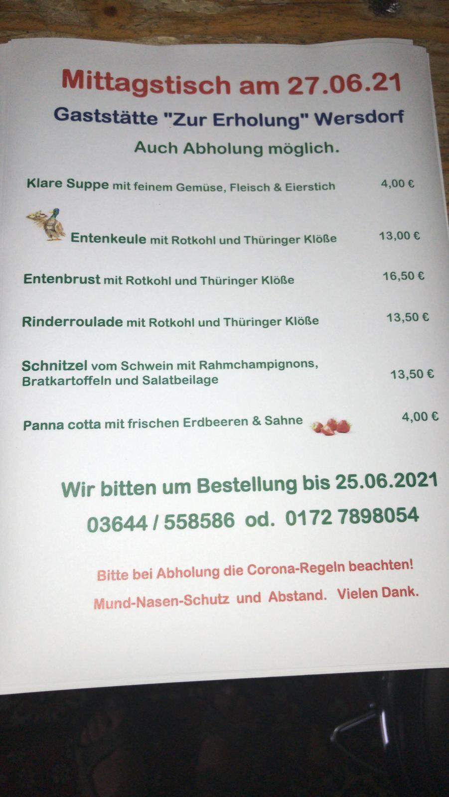 Mittagstisch 27.06.2021 Gaststätte Zur Erholung Wersdorf