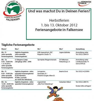 Foto zu Meldung: Keine Langeweile in den Herbstferien - Kalender mit vielen Angeboten für Falkenseer Schülerinnen und Schüler