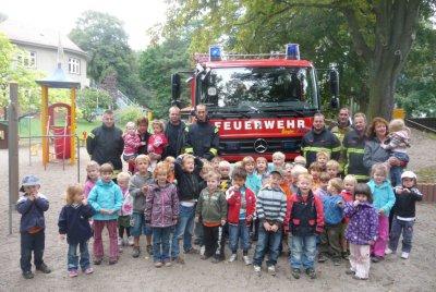 """Foto zur Meldung: Leserbrief der Sportkita """"Falkennest"""": Spannende Brandschutzwoche mit Übung und Feuerwehr-Besuch"""