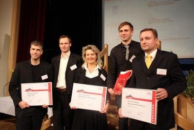 Die Gewinner des Lausitzer Existenzgründer Wettbewerbes (LEX) 2012 gemeinsam mit Ministerpräsident Platzeck gekürt
