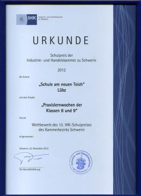 Foto zu Meldung: Wettbewerb des 13. IHK-Schulpreises des Kammerbeziks Schwerin