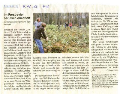 Foto zu Meldung: Berufsfrühorientierung im Forstrevier