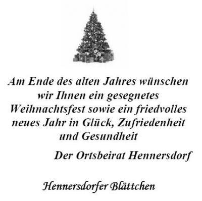 Foto zur Meldung: Hennersdorfer Blättchen Dezember 2012