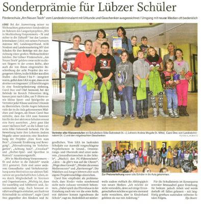 Foto zu Meldung: Sonderprämie für Lübzer Schüler