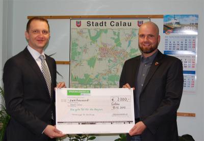 Foto zu Meldung: Nachgereicht: Hort Calau - Spreewaldbank überreicht Spende