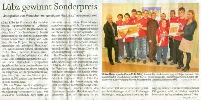 Foto zu Meldung: Auszeichnung des Lübzer Sportvereins