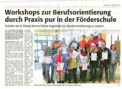 Foto zu Meldung: Workshhops zur Berufsorientierung durch Praxis pur in der Förderschule