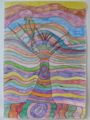 Foto zur Meldung: BAUMTRÄUME - TRAUMBÄUME - Ausstellung des Kinder-Malkurses des Hauses am Anger
