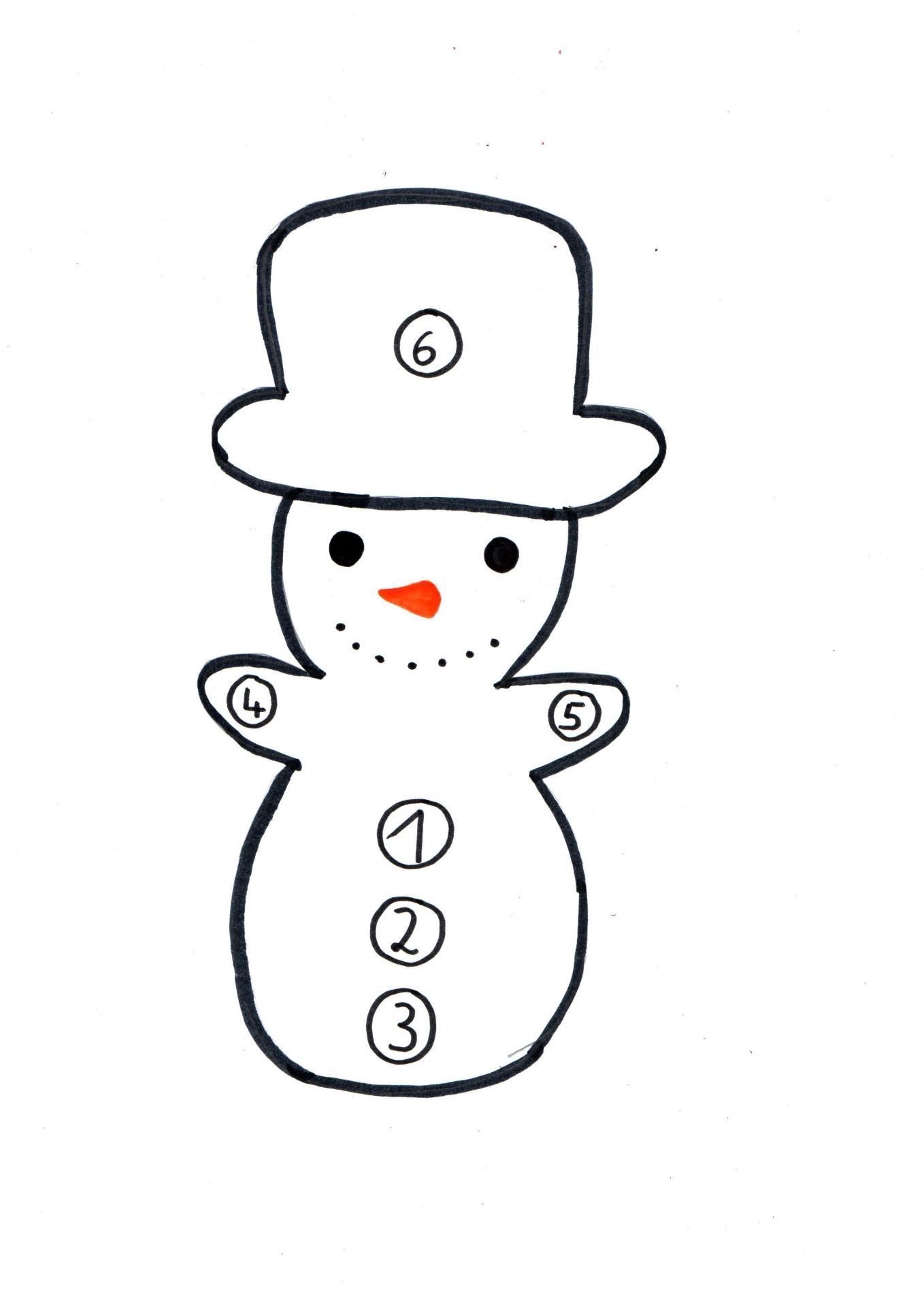 Bastelvorlage Schneemannspiel