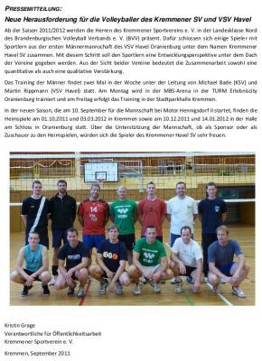 Foto zur Meldung: Neue Herausforderung für die Volleyballer des Kremmener SV und VSV Havel