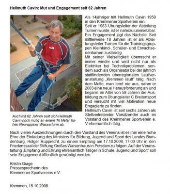 Foto zur Meldung: Hellmuth Cavin: Mut und Engagement seit 62 jahren