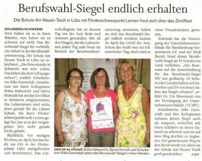Foto zu Meldung: Übergabe des Berufswahl-Siegel Mecklenburg-Vorpommern in Schwerin