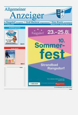 © Gemeinde Rangsdorf - Titelseite des Allgemeinen Anzeigers für Rangsdorf, Groß Machnow und Klein Kienitz vom 10.08.2019