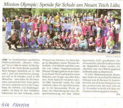 Foto zu Meldung: Mission Olympic: Spende für Schule am Neuen Teich Lübz