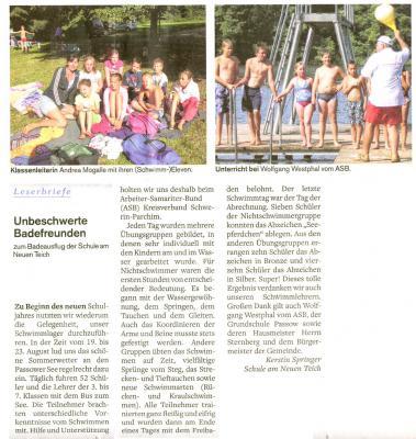 Foto zu Meldung: Schwimmlager 2013 am Passower See