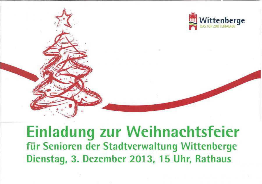 wittenberge - bitte anmelden: weihnachtsfeier für ehemalige, Einladung