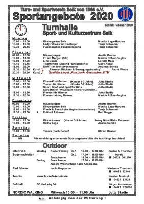 Foto zu Meldung: Sportangebote des TSV Selk, Stand Februar 2020