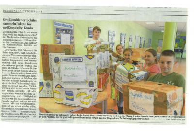 Foto zur Meldung: Großkmehlener Schüler sammeln Pakete für weißrussische Kinder