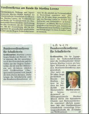 Foto zur Meldung: Verdienstkreuz am  Bande für Martina Lorenz