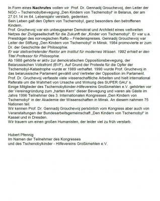 Foto zur Meldung: Nachrufe für Prof. Dr. Gennadij Grouchewoj