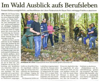 Foto zu Meldung: Waldpraktikum in Zusammenarbeit mit dem Forstamt Karbow