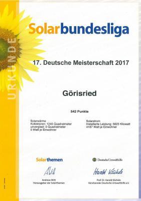 Urkunde Solarbundesliga