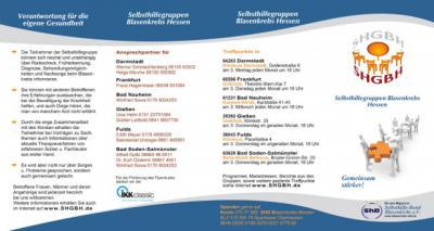 Aktueller Flyer von 6 hessischen Blasenkrebs-SHG