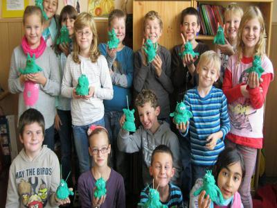 Foto zu Meldung: Das Olche-Bastel –Projekt der Klasse 3a