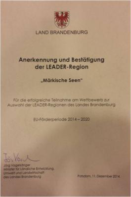Foto zur Meldung: Alle LEADER- Regionen in Brandenburg bestätigt: Start in die neue Förderperiode 2014-2020
