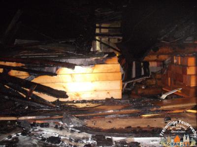Foto zur Meldung: Brand eines Holzhauses in Menz