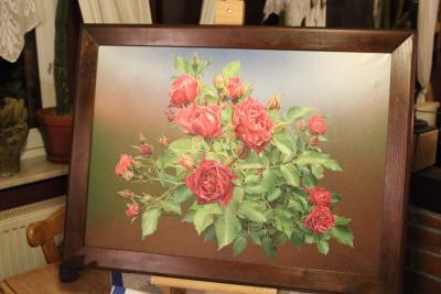 Foto zur Meldung: Detlef Glöde zeigte sein Ölgemälde von der Wittstock-Rose