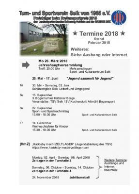 Foto zur Meldung: Termine des TSV Selk 2018