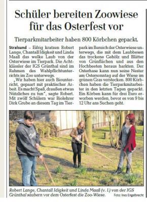 Foto zur Meldung: Schüler bereiten Zoowiese für das Osterfest vor