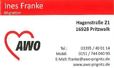 Visitenkarte von Frau Franke