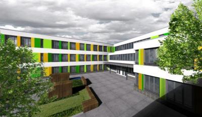 Foto zu Meldung: Baustelle Comenius-Grundschule: Stützen und Binder werden geliefert