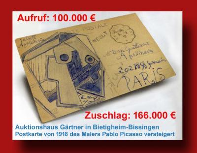 Postkarte von Pablo Picasso für 166.000 Euro versteigert
