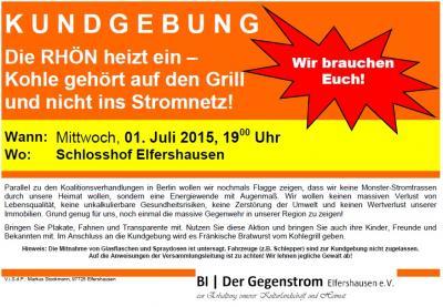 Foto zur Meldung: K U N D G E B U N G am 01.07.2015: Die RHÖN heizt ein – Kohle gehört auf den Grill und nicht ins Stromnetz!