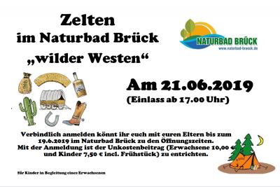 """Foto zur Meldung: Zelten im Naturbad Brück """"wilder Westen"""" am 21.06.2019"""