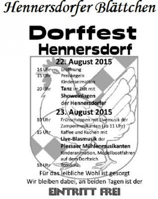 Foto zur Meldung: Hennersdorfer Blättchen August 2015