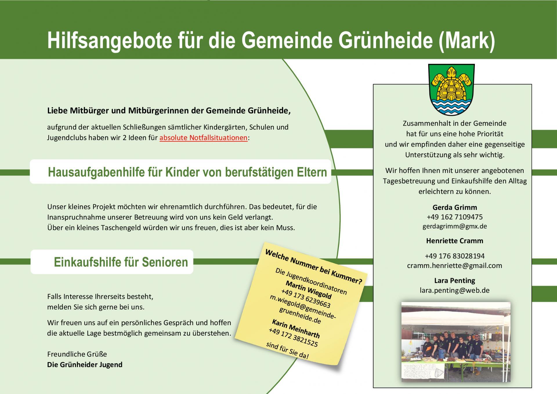 Hilfsangebote der Grünheider Jugend