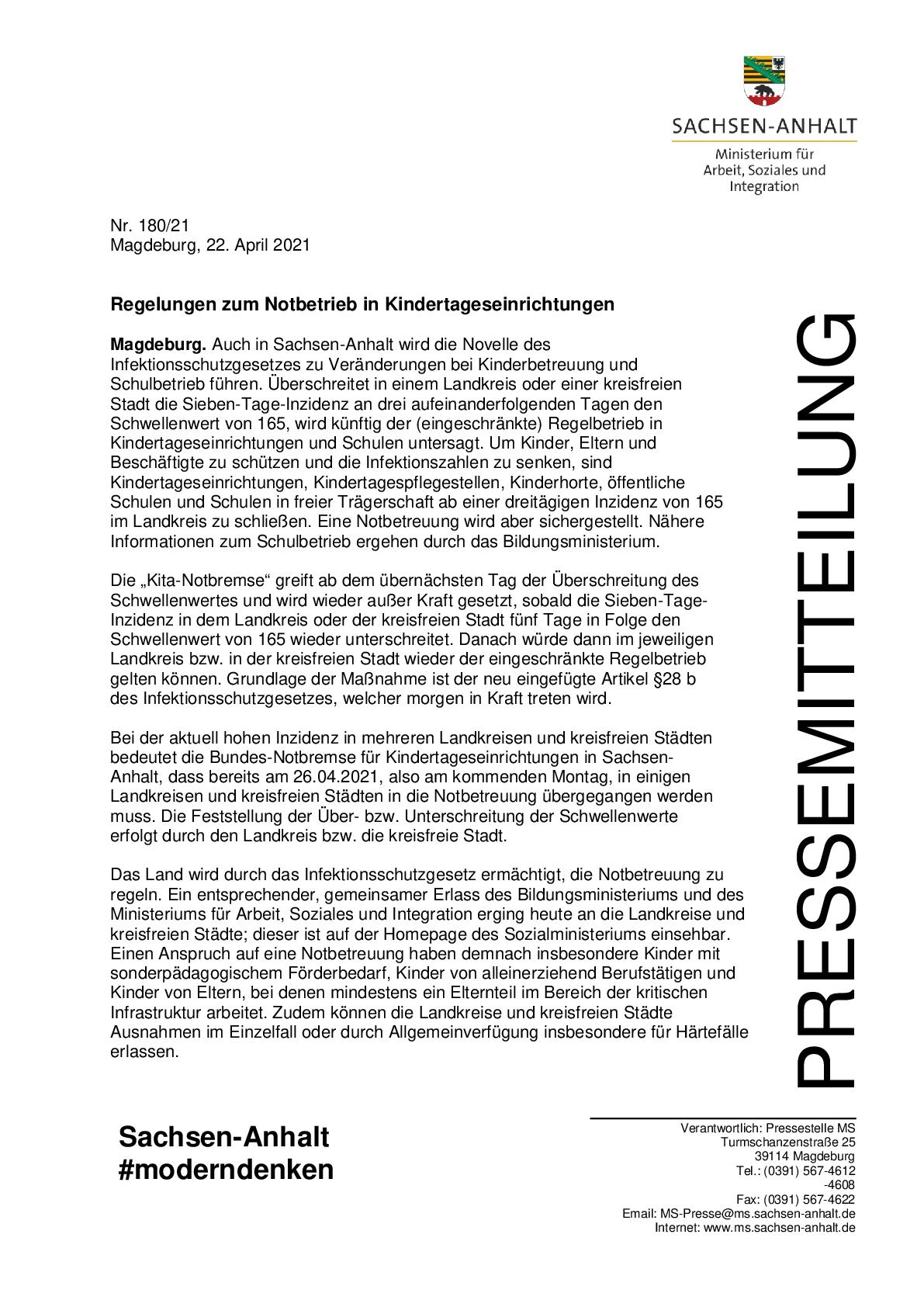Regelungen zum Notbetrieb in Kindertageseinrichtungen-001